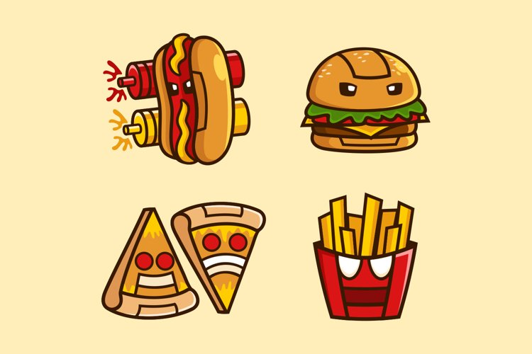 collection of Fast Food Robot cartoon character design example image 1