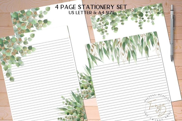 Green Printable Stationery Set, 4 Page Note Paper