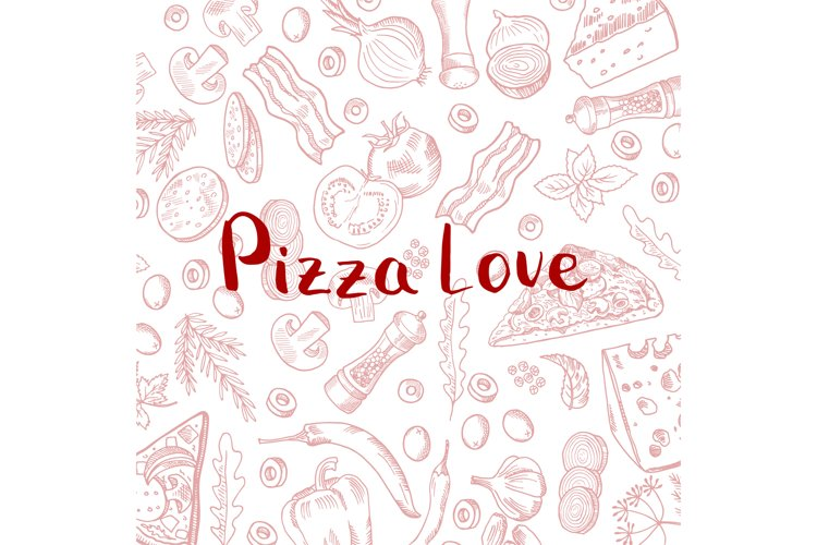 Vector hand drawn cooking pizza elements background example image 1