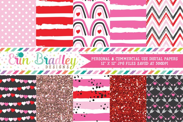 Pink Valentines Day Digital Papers example image 1