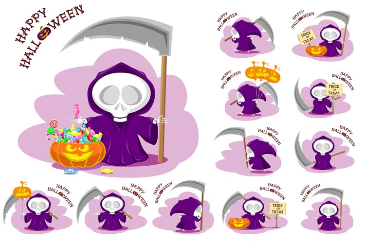Set of 12 figure funny little death with large scythe and halloween pumpkin. Vector illustration