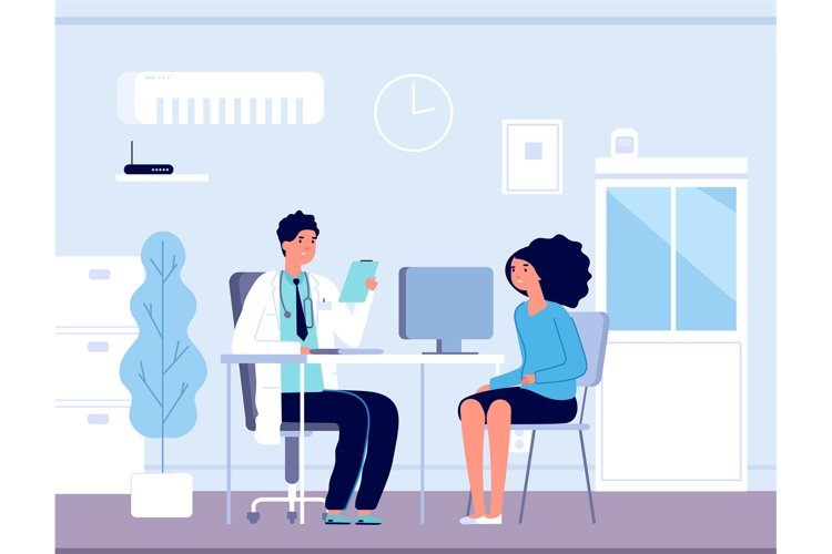 Patient in doctor office. Physician medical consulting. Diag example image 1
