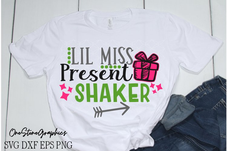 Christmas,Christmas svg,Lil miss present shaker svg, example image 1