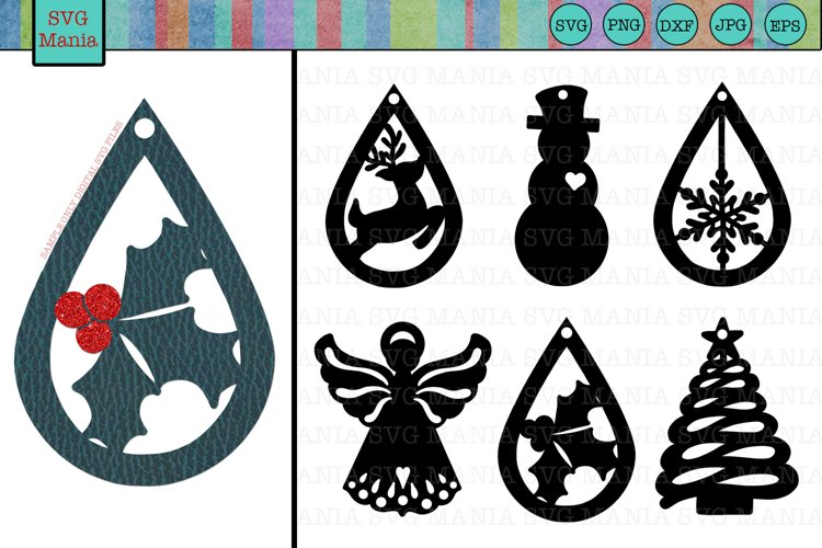 Christmas Earring SVG Bundle, Christmas Earring Template SVG - Free Design of The Week Font