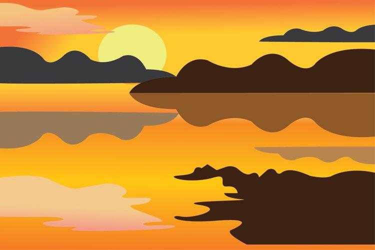 sunset landscape vector illustration example image 1