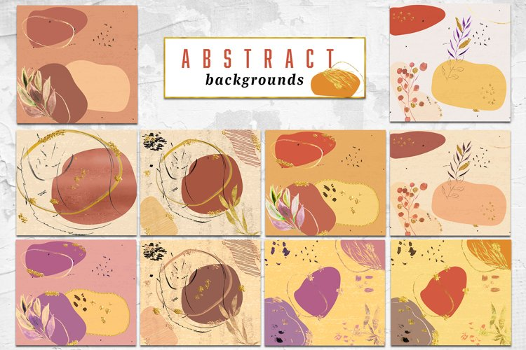 Modern Abstract backgrounds, Ink & Gold shapes, Abstract art example image 1