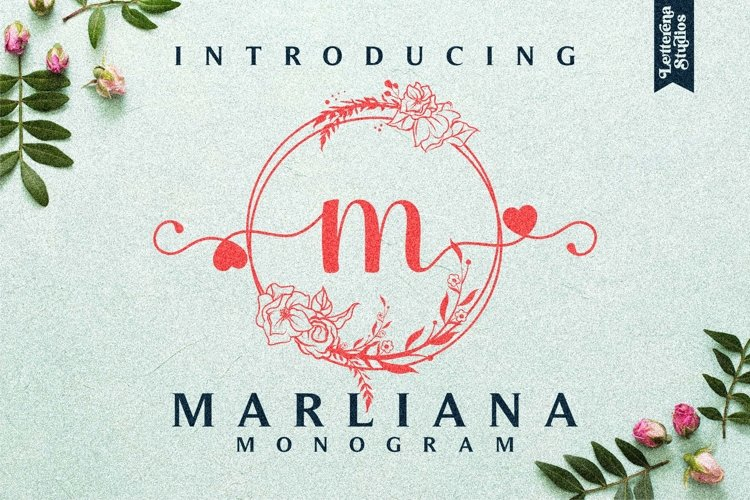 Marliana Floral Monogram Font example image 1