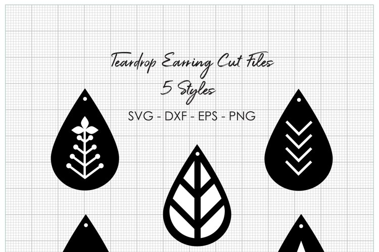 Teardrop Earring Cut Files - 4 File Types Included - SVG EPS DXF PNG example image 1