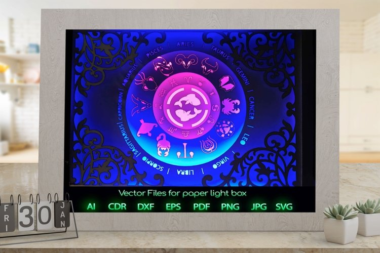 Zodiac sign Pisces Light box template , Paper or cardboard example image 1