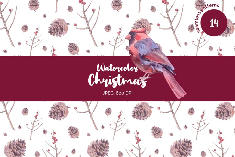 Watercolor Christmas seamless patterns example image 1