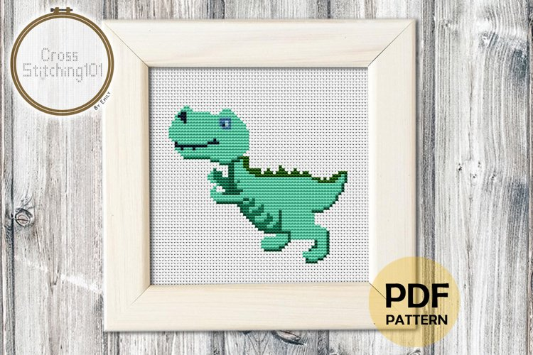 Cartoon Dinosaur Cross Stitch Pattern - Instant Download example image 1