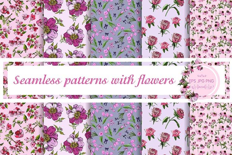 5 elegant floral vector seamless patterns.