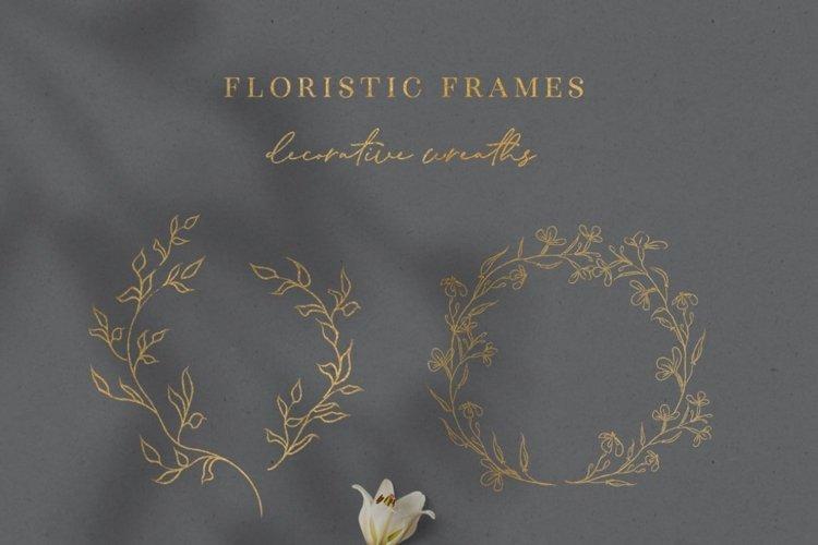 Line Drawn Golden Floristic Wreaths Sprigs botanical clipart example 3