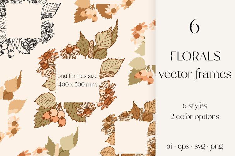 Florals vector frames, wild flowers svg sublimation