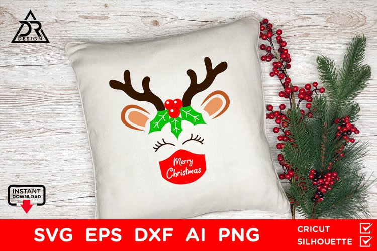Merry Christmas Reindeer with mask SVG