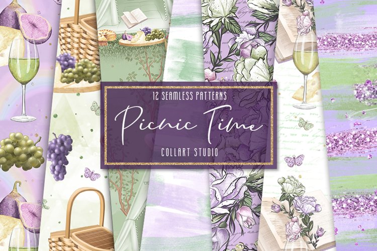 Picnic digital paper, camping papers, seamless papers, sprin