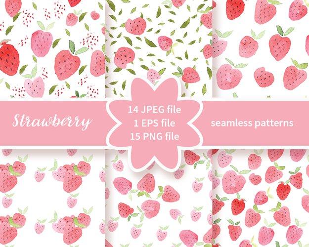 Strawberries Handpainted, Watercolor Fruit Digital Paper for Scrapbooking, watercolor hand painted papers, strawberries pattern