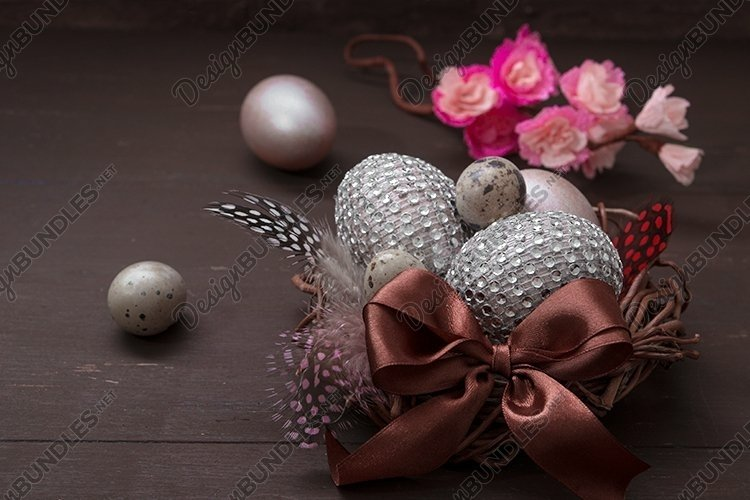Nest with eggs on Wooden background - Easter still life example image 1