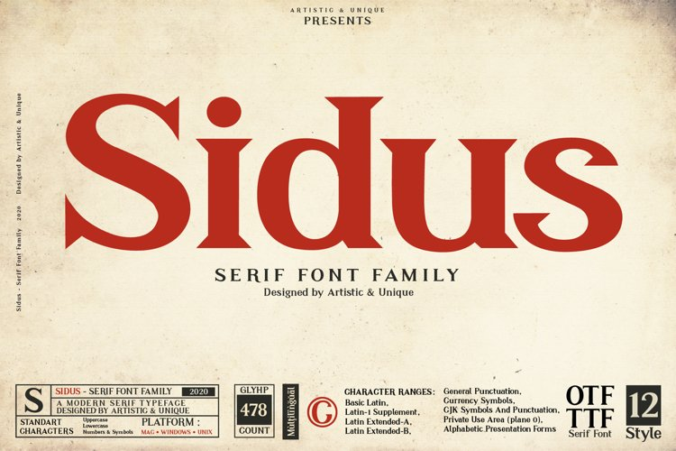 Sidus - Serif Font Family example image 1