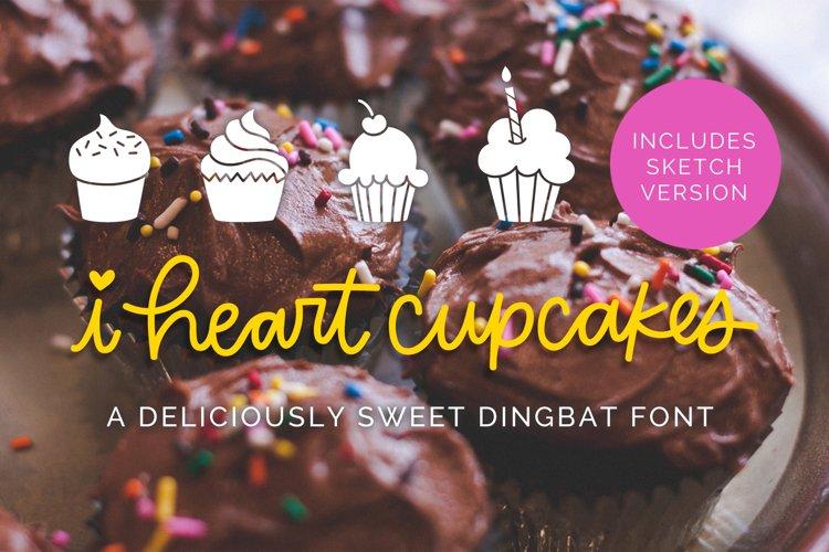 I Heart Cupcakes Dingbat Font example image 1