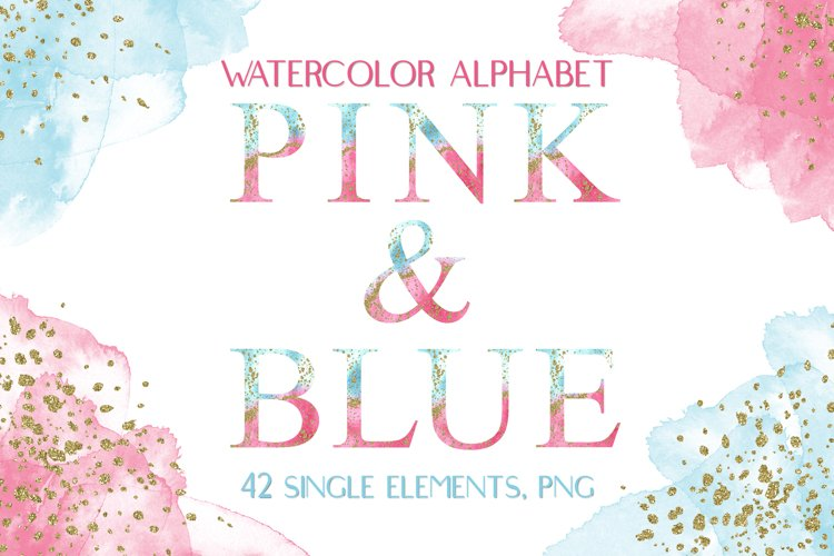 Watercolor Alphabet Pink & Blue With Gold Glitter Clipart