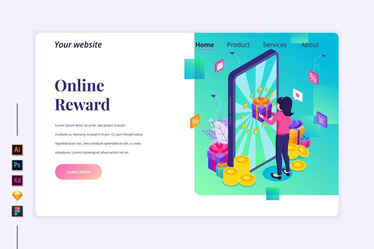 Isometric Online reward Landing page illustration example image 1