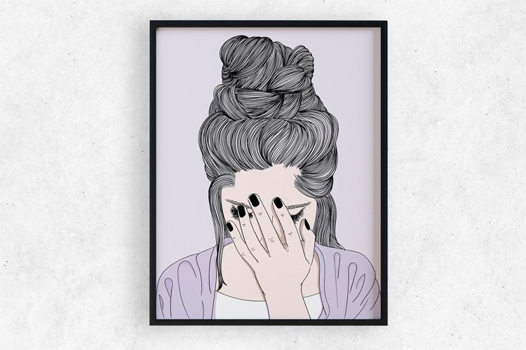 Wall art A woman crying sad example image 1