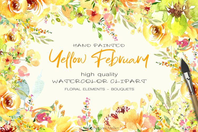 Watercolor flowers - Yellow February example image 1