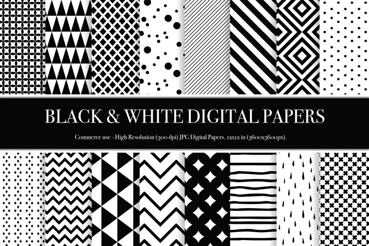 Black and White Digital Papers - P1