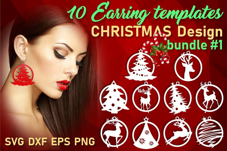 10 Leather Christmas earrings svg bundle Necklace svg example image 1