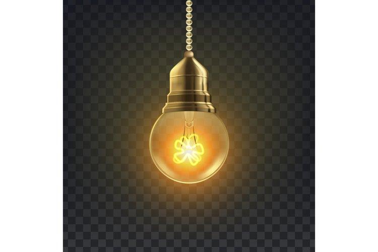 Light Bulb Vector. Retro Loft Light Bulb Symbol. Graphic example image 1