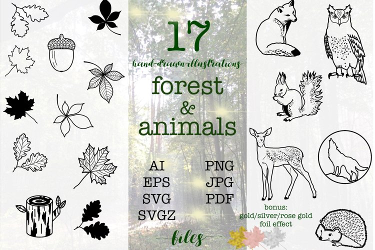 SVG EPS Bundle Forest animals silhouettes example image 1