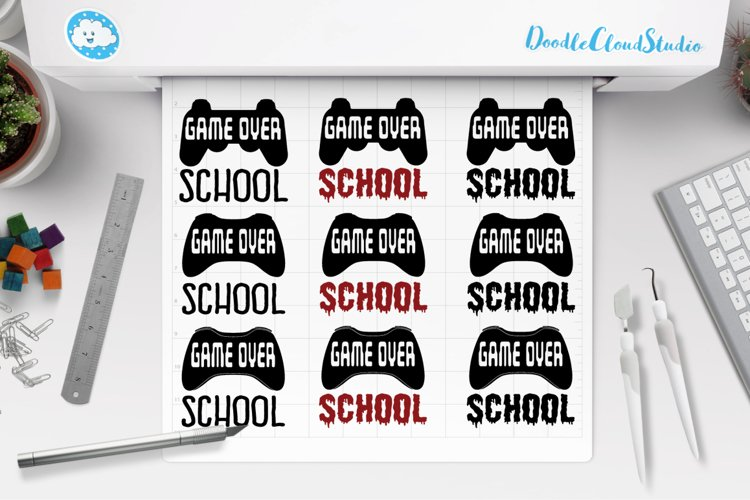 Game Over Last Day to School SVG, Game Over School Clipart. example image 1