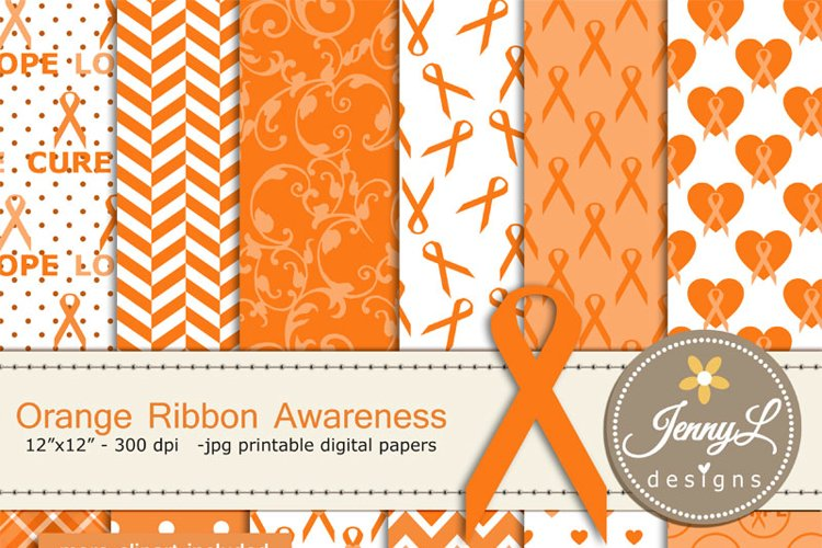 Orange Ribbon Cancer Awareness Digital Papers and Clipart, Lupus, Leukemia, Appendix Cancer, Kidney, Hunger, Orange Ribbon Awaress example image 1