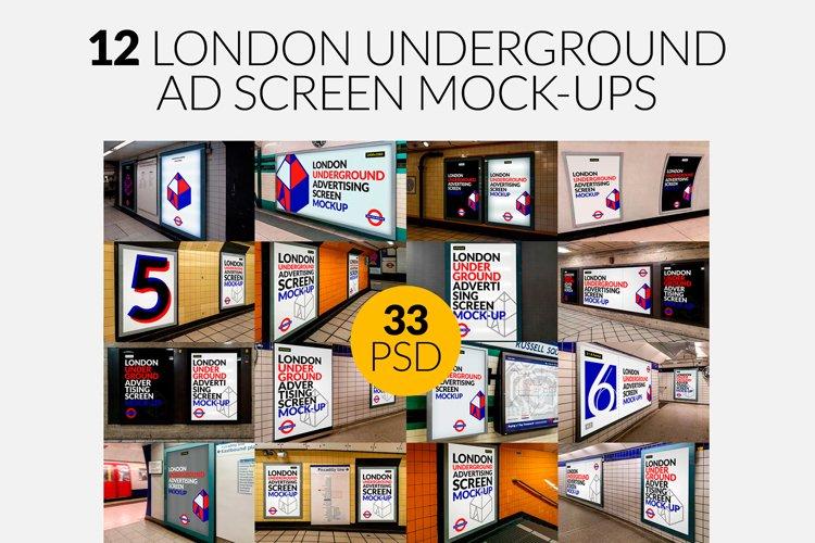 12 London Underground Ad Screen Mock-Ups Bundle / 33 PSD example image 1
