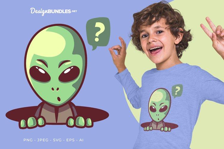 Curious Alien Vector Illustration For T-Shirt Design