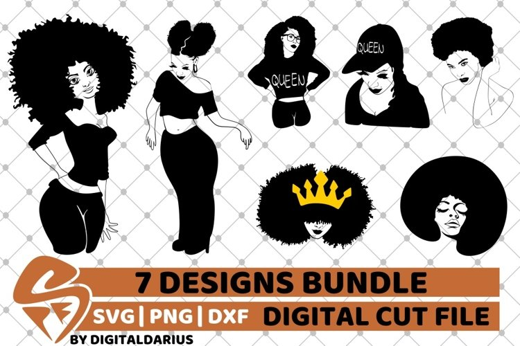 7x Black Woman Bundle SVG, afro lady svg, Africa, Queen svg example image 1