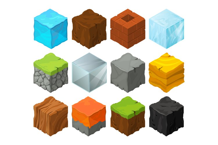 Isometric blocks with different texture for 3d game location example image 1