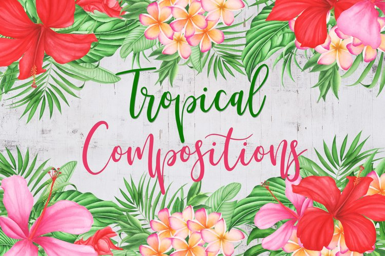 Watercolor Tropical Flowers and Leaves Compositions example image 1