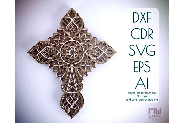Cr11 - Multilayer Cross, Laser cut Cross, Cricut Cross SVG example image 1