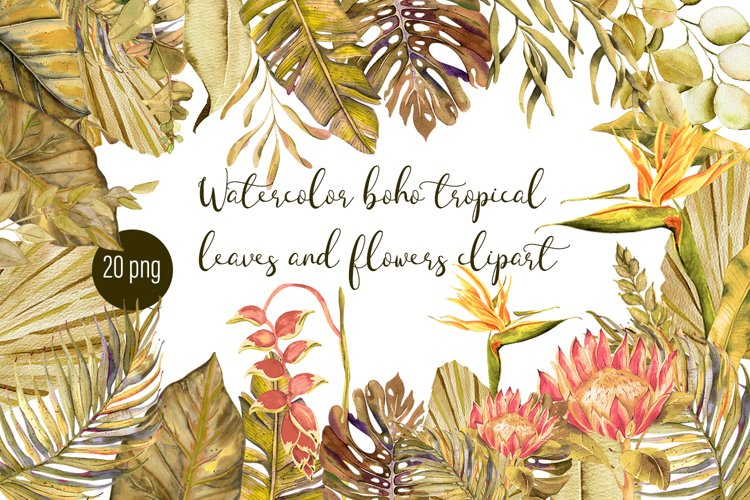 Watercolor tropical boho floral clipart. Flowers and leaves example image 1