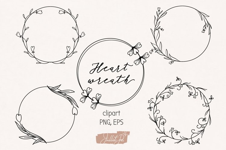 Floral Frame Clipart, Valentines Wreath