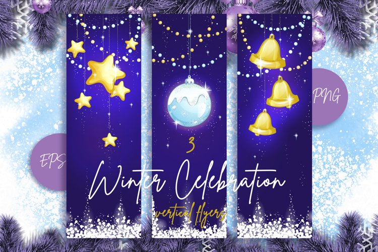Vertical Christmas background. Cards for greeting. example image 1