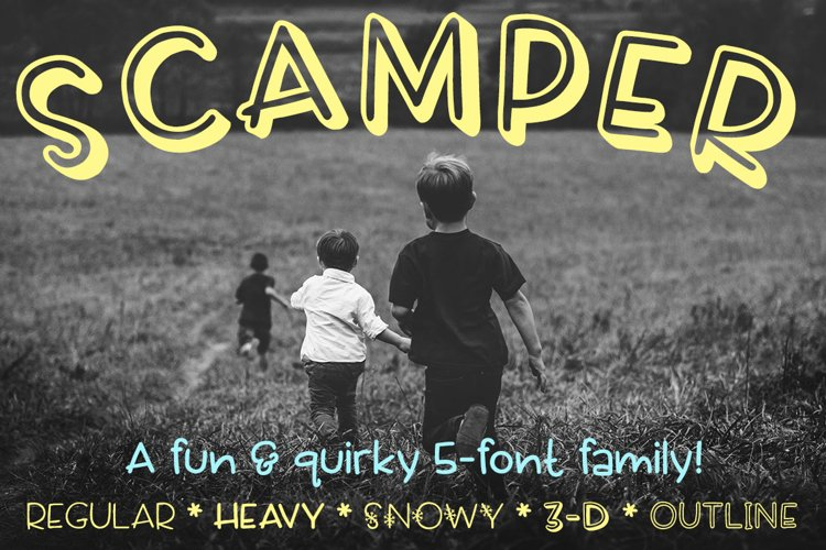 Scamper - a five-font family example image 1