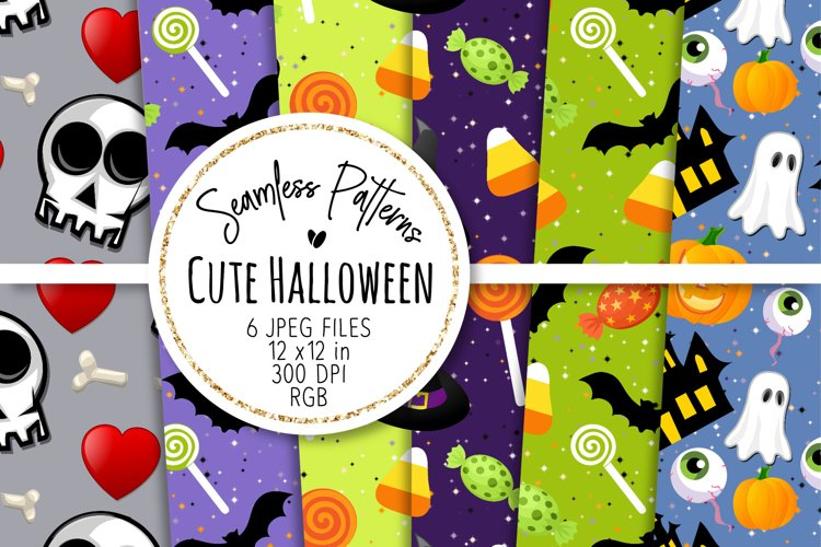 Cute Halloween Seamless Patterns 14 example image 1