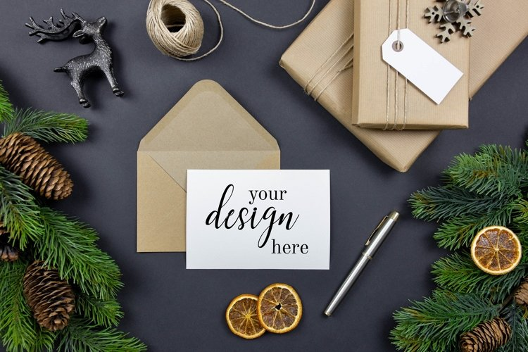 Christmas greeting cards, envelopes mockups, flat lay. PSD. example image 1