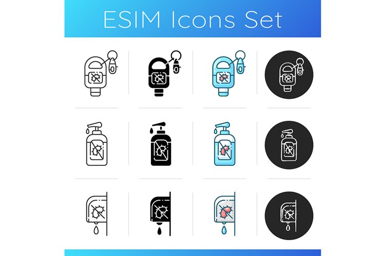 Hand sanitizers icons set example image 1