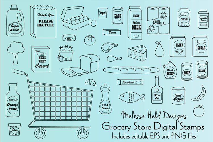 Grocery Store Digital Stamps Clipart example image 1