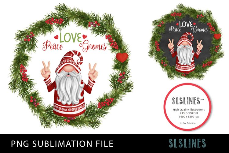 Christmas Peace Gnome Wreath PNG sublimation example image 1