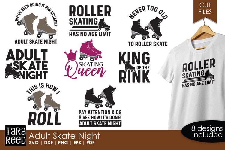 Adult Skate Night - Roller Skating SVG and Cut Files example image 1